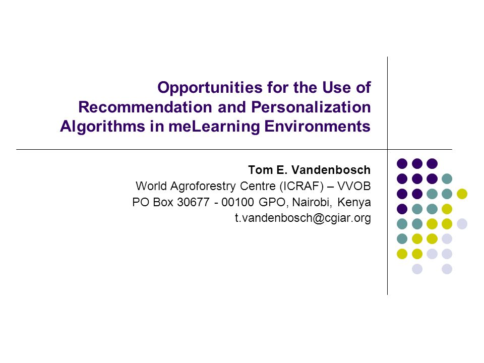 Opportunities for the Use of Recommendation and Personalization Algorithms in meLearning Environments