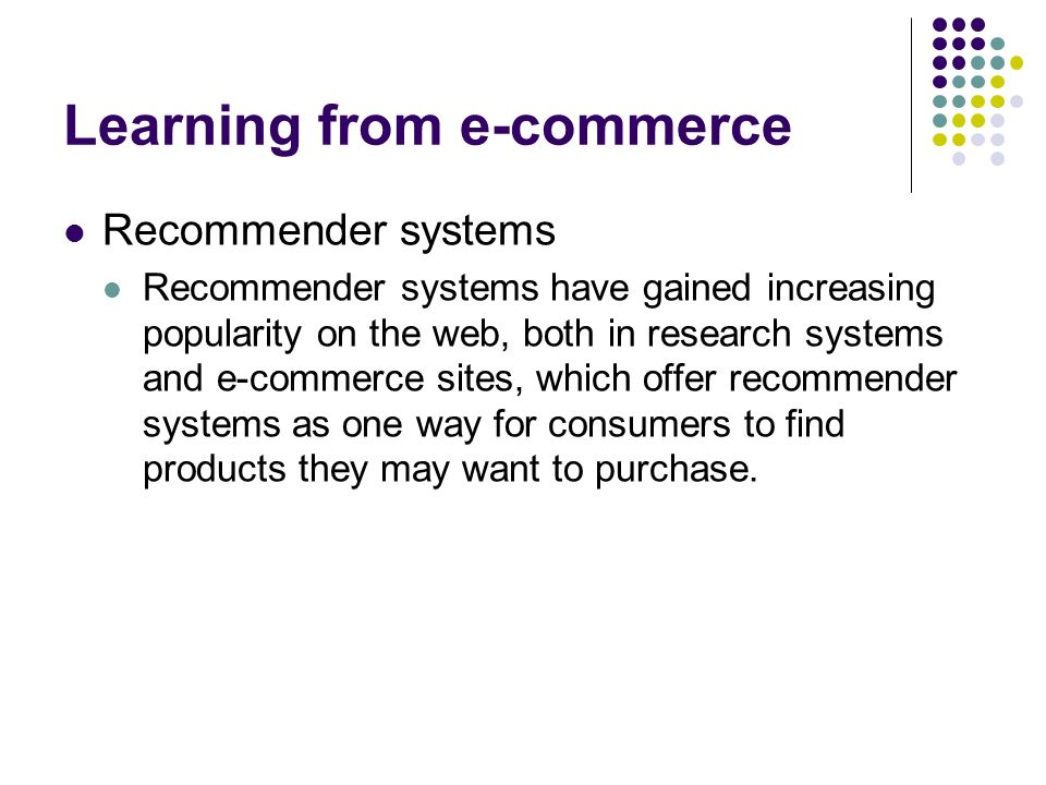 Learning from e-commerce