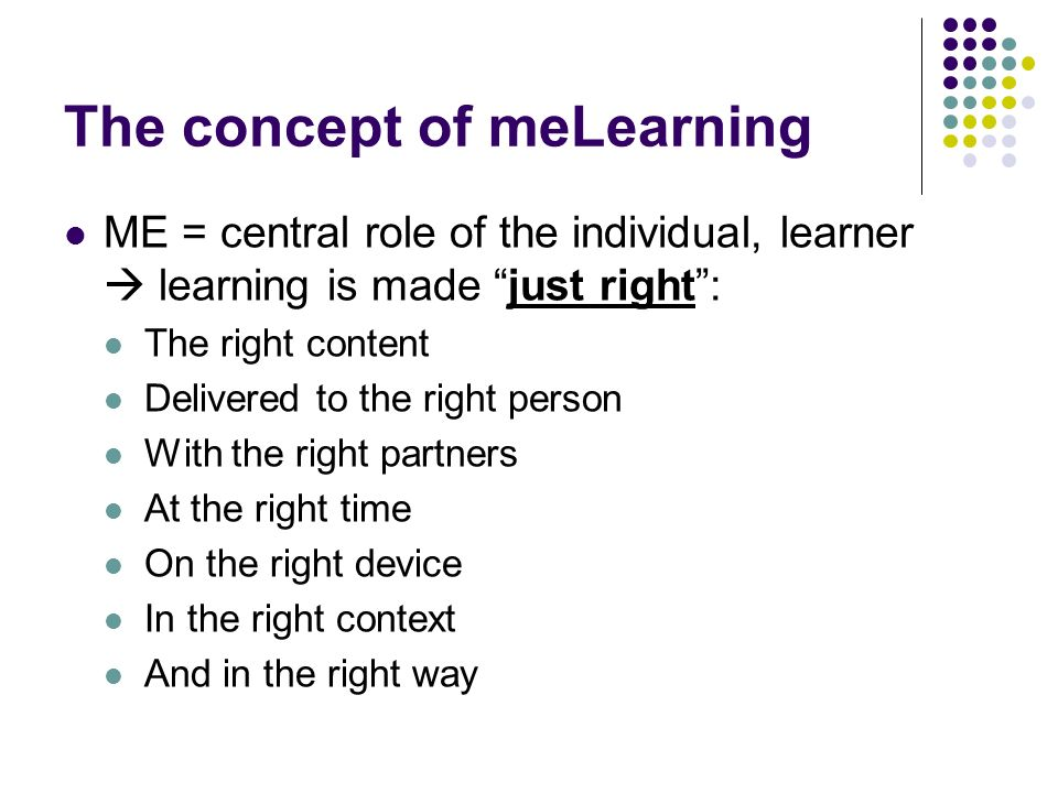 The concept of meLearning