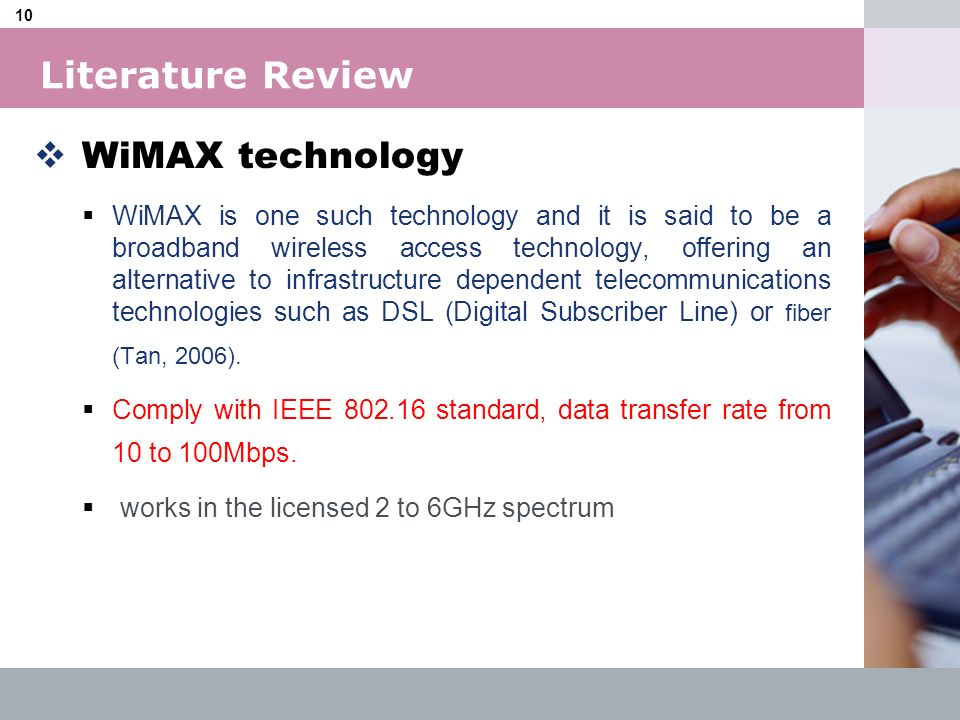 Literature Review WiMAX technology