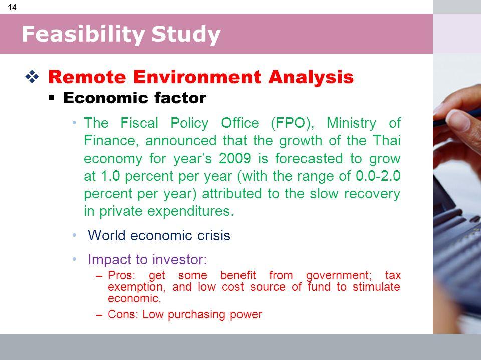 Feasibility Study Remote Environment Analysis Economic factor