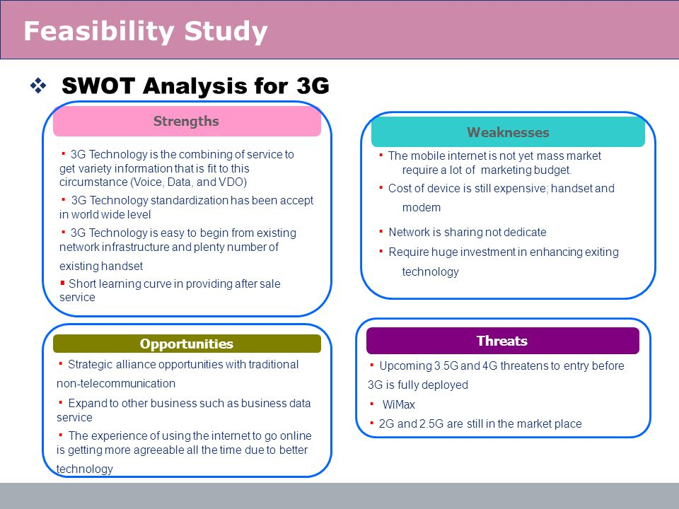 Feasibility Study SWOT Analysis for 3G Strengths