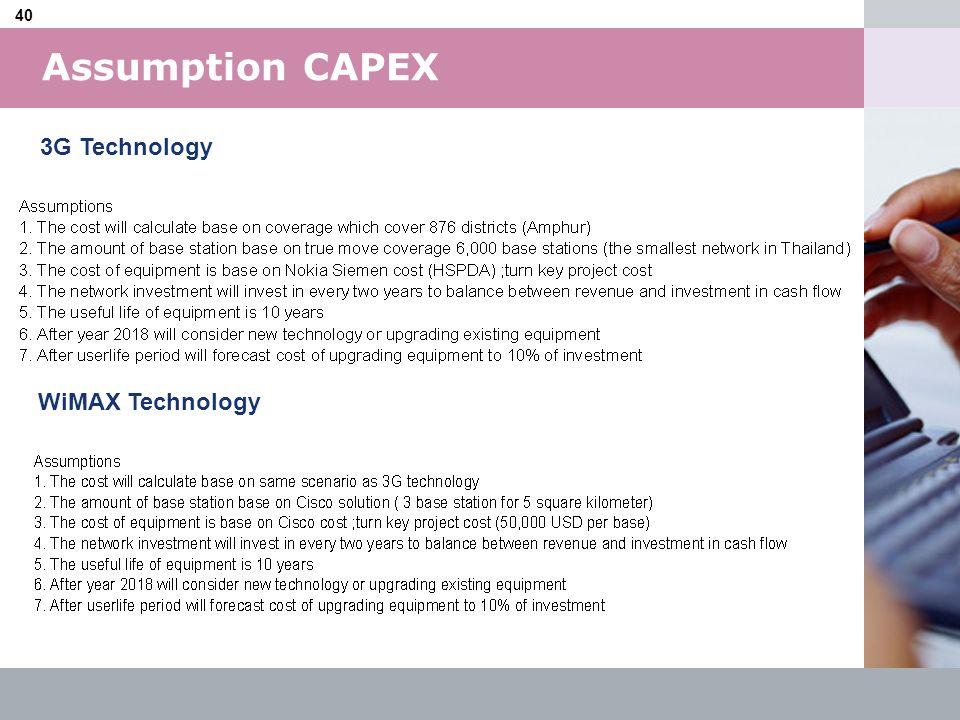 Assumption CAPEX 3G Technology WiMAX Technology