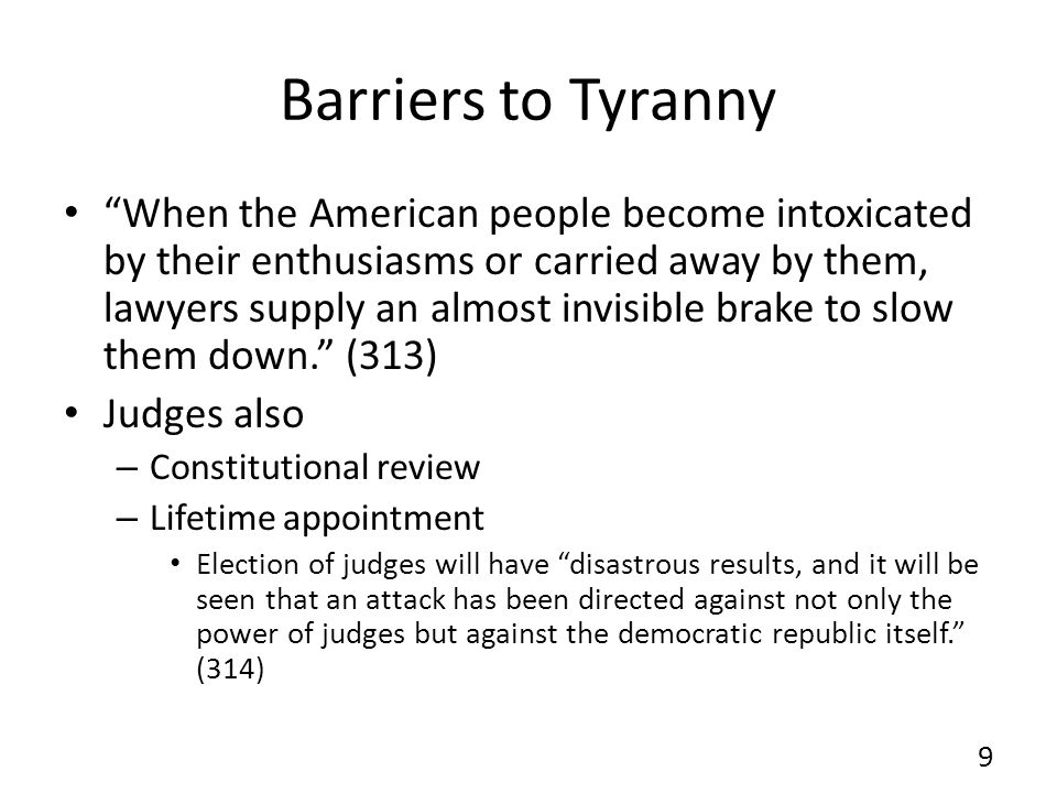 Barriers to Tyranny