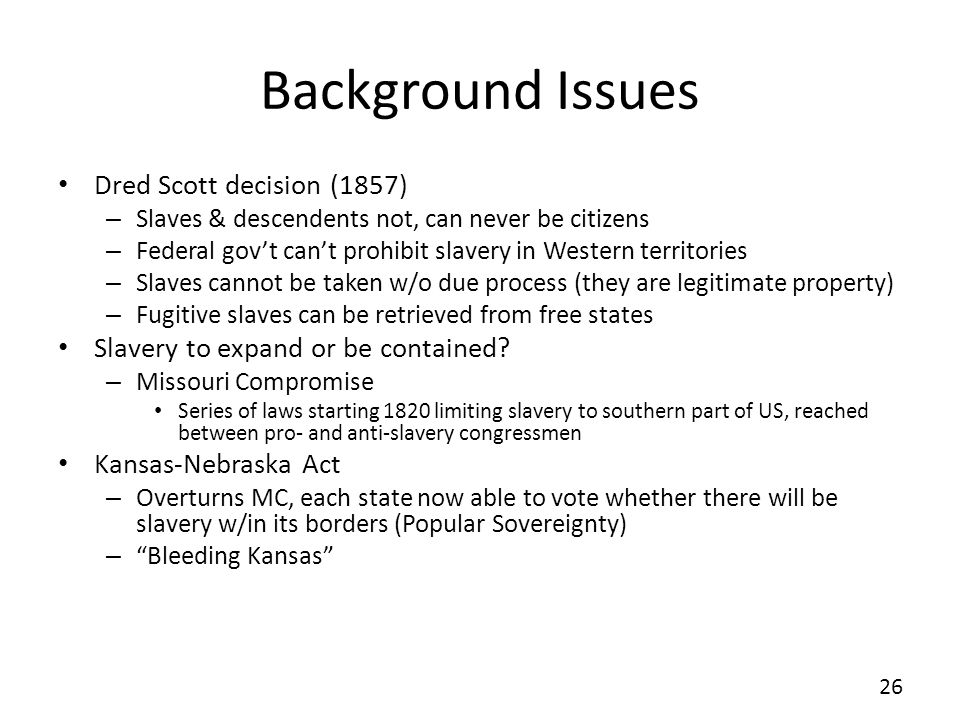 Background Issues Dred Scott decision (1857)