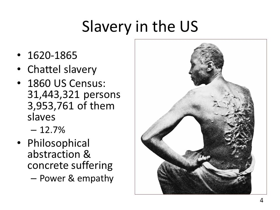 Slavery in the US 1620-1865 Chattel slavery