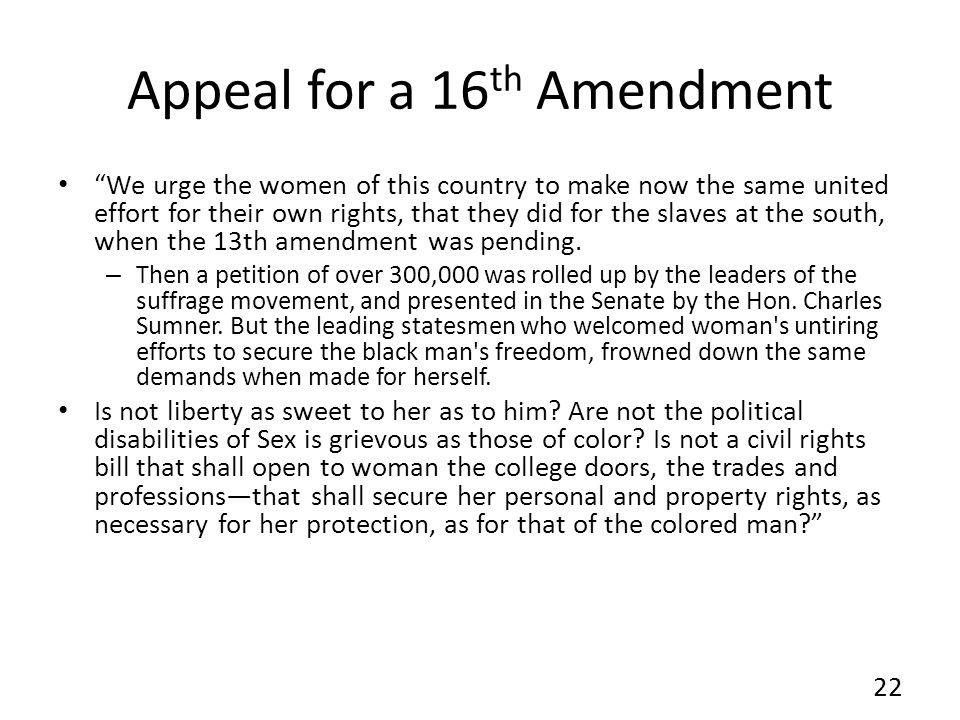 Appeal for a 16th Amendment