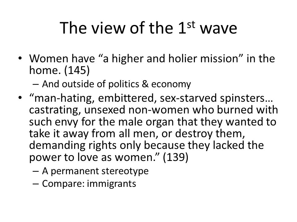 The view of the 1st wave Women have a higher and holier mission in the home. (145) And outside of politics & economy.