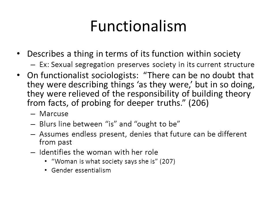 Functionalism Describes a thing in terms of its function within society. Ex: Sexual segregation preserves society in its current structure.