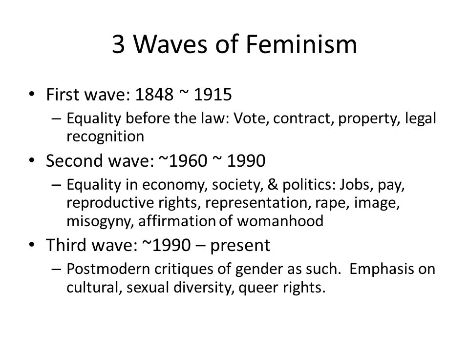 3 Waves of Feminism First wave: 1848 ~ 1915 Second wave: ~1960 ~ 1990