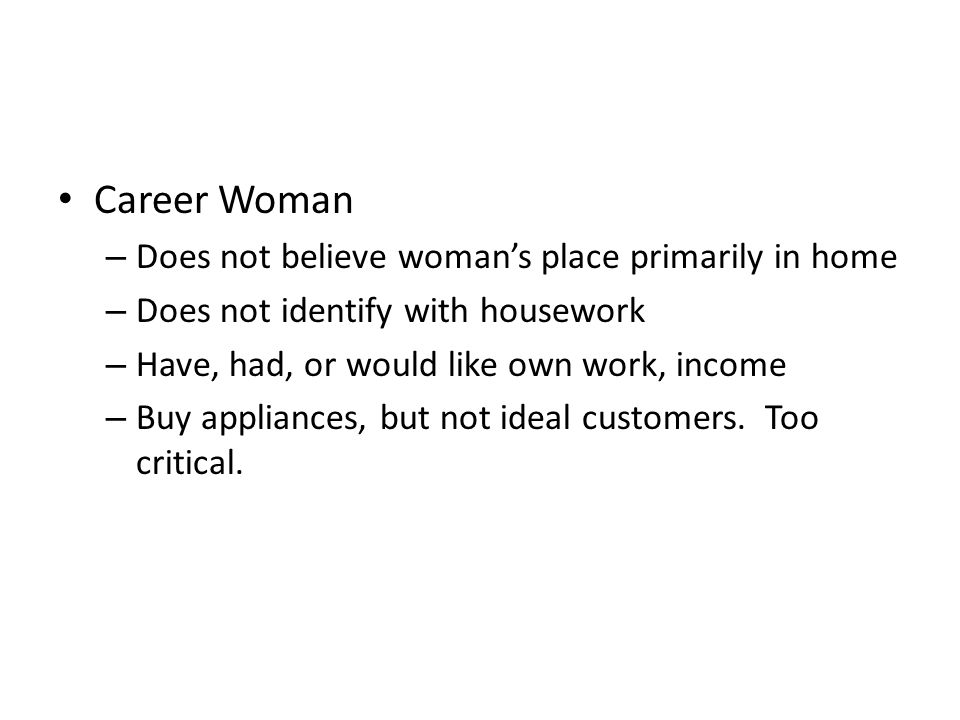 Career Woman Does not believe woman's place primarily in home