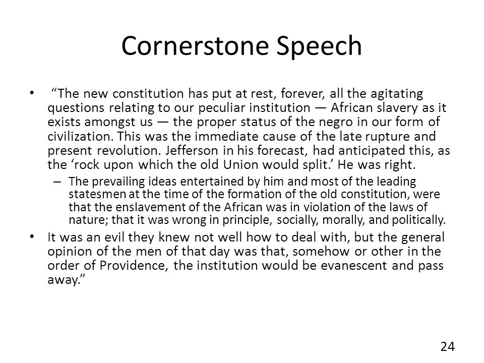 Cornerstone Speech