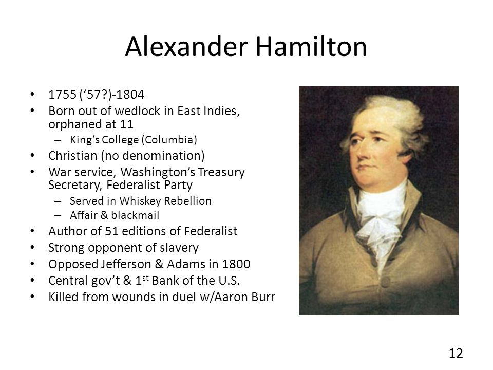Alexander Hamilton 1755 ('57 )-1804