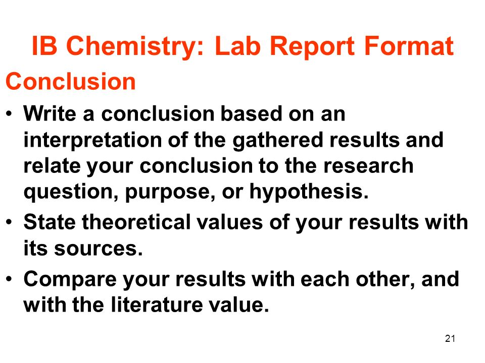criteria for ib chemistry lab reports Analysis - lab report and ia criteria (ib bio) how to write a lab report data and analysis - duration: writing formal lab reports in chemistry.
