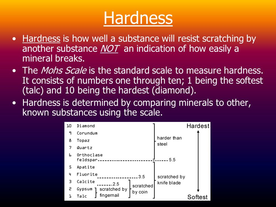 Hardness Hardness is how well a substance will resist scratching by another substance NOT an indication of how easily a mineral breaks.