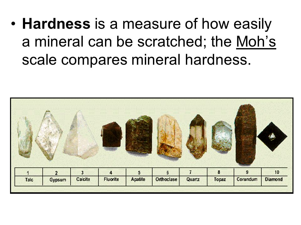 Hardness is a measure of how easily a mineral can be scratched; the Moh's scale compares mineral hardness.