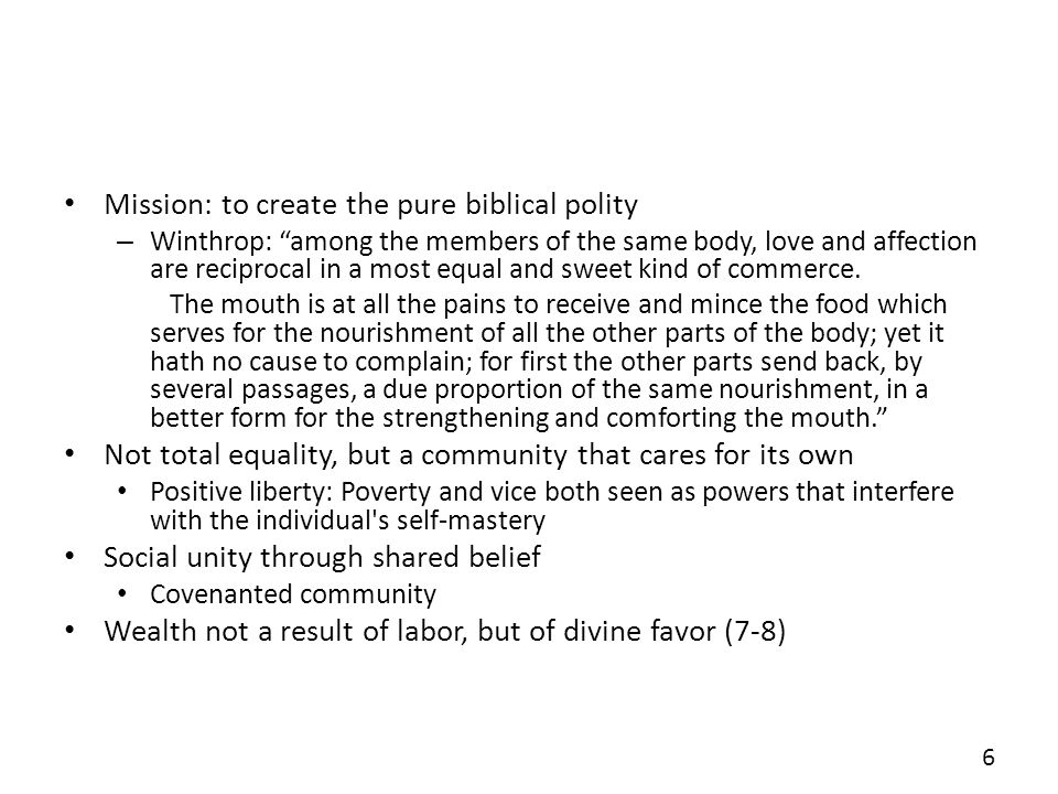 Mission: to create the pure biblical polity
