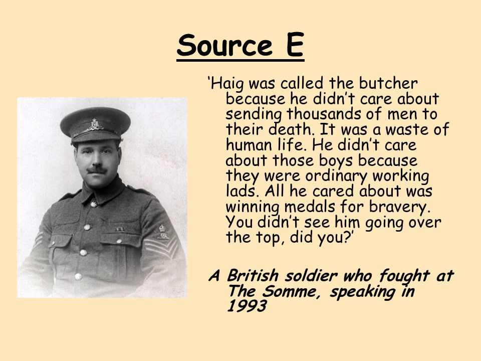 was haig a butcher or war winner essay Douglas haig, britain's first world war commander-in-chief from december 1915 to the end of the war butcher haig haig has often been it won many plaudits.