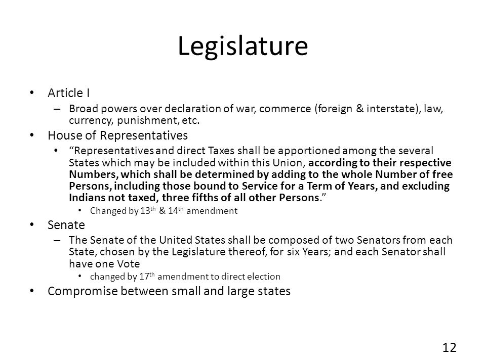 Legislature Article I House of Representatives Senate