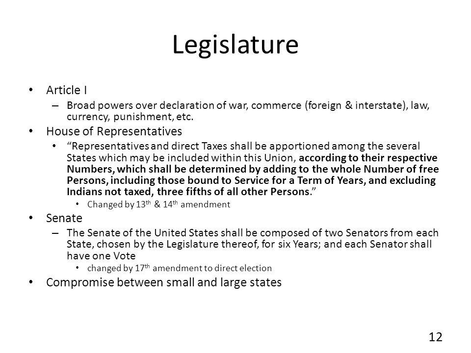 Legislature Article I House of Representatives Senate