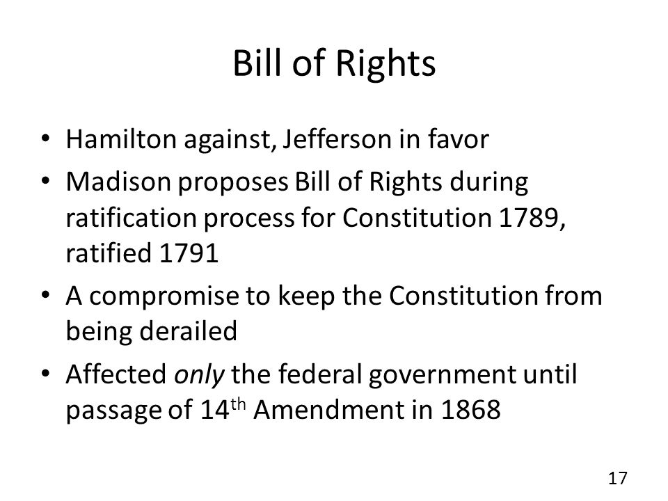 Bill of Rights Hamilton against, Jefferson in favor