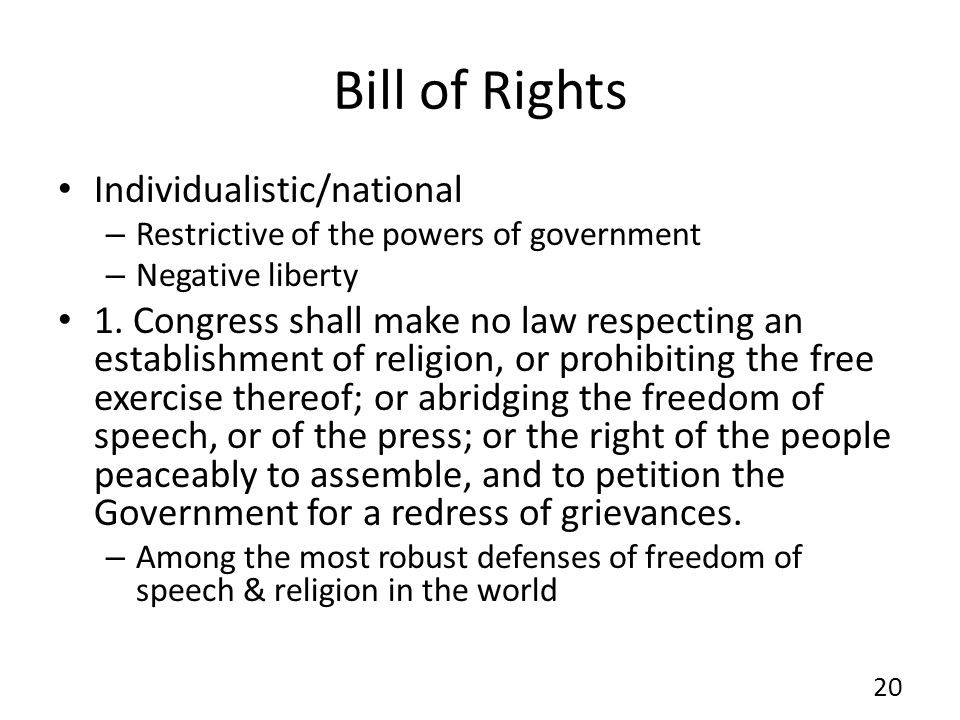 Bill of Rights Individualistic/national