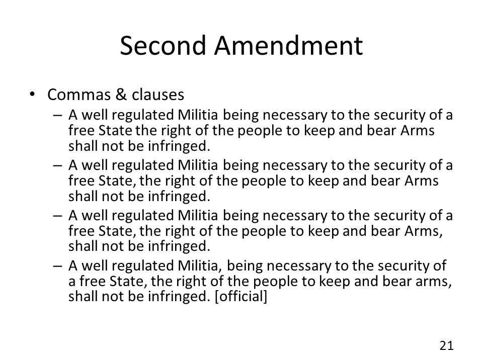Second Amendment Commas & clauses