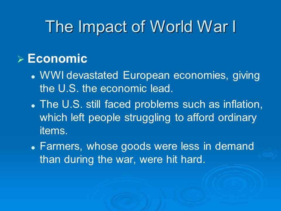 impact of wwi on russia Explain the impact of wwi on american life world war i origins allies: france, britain, russia find study resources main menu.