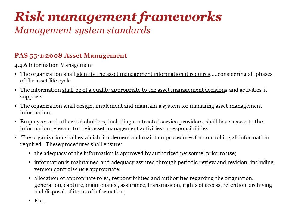 Risk management frameworks Management system standards