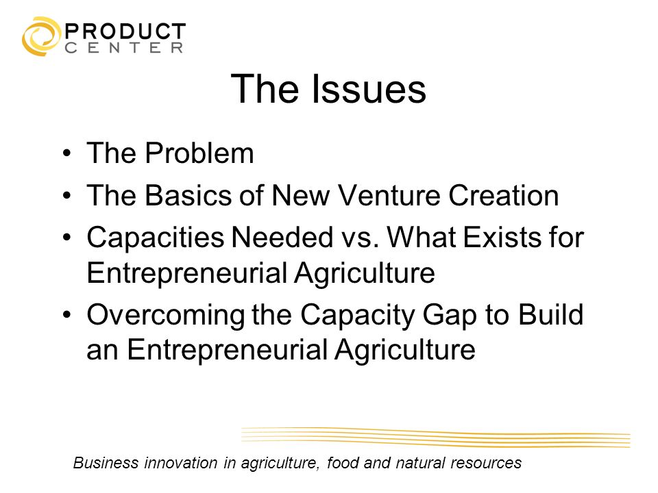 The Issues The Problem The Basics of New Venture Creation