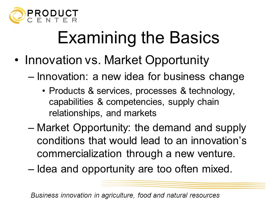 Examining the Basics Innovation vs. Market Opportunity