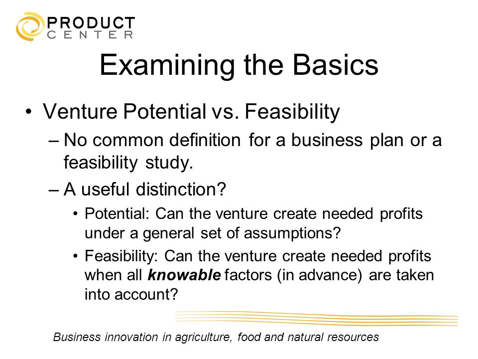 Examining the Basics Venture Potential vs. Feasibility