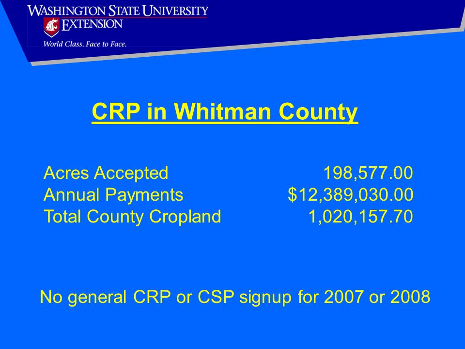 CRP in Whitman County Acres Accepted 198,577.00