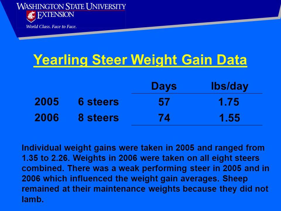 Yearling Steer Weight Gain Data