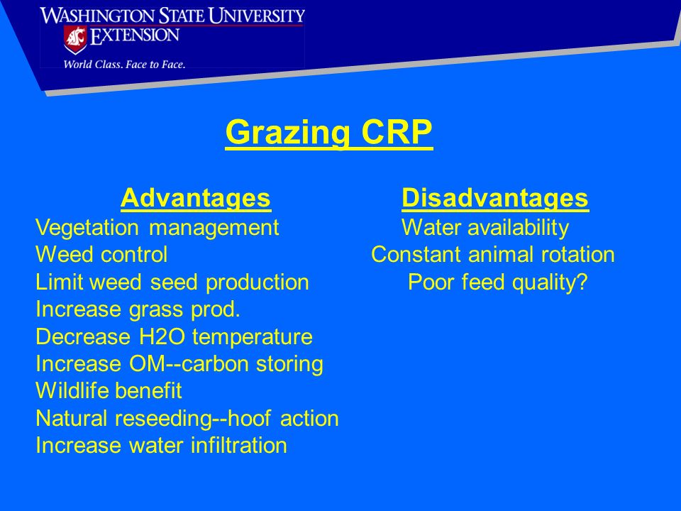 Grazing CRP Advantages Disadvantages