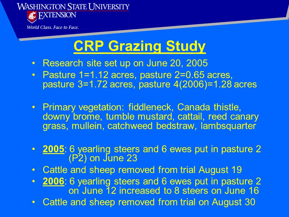 CRP Grazing Study Research site set up on June 20, 2005