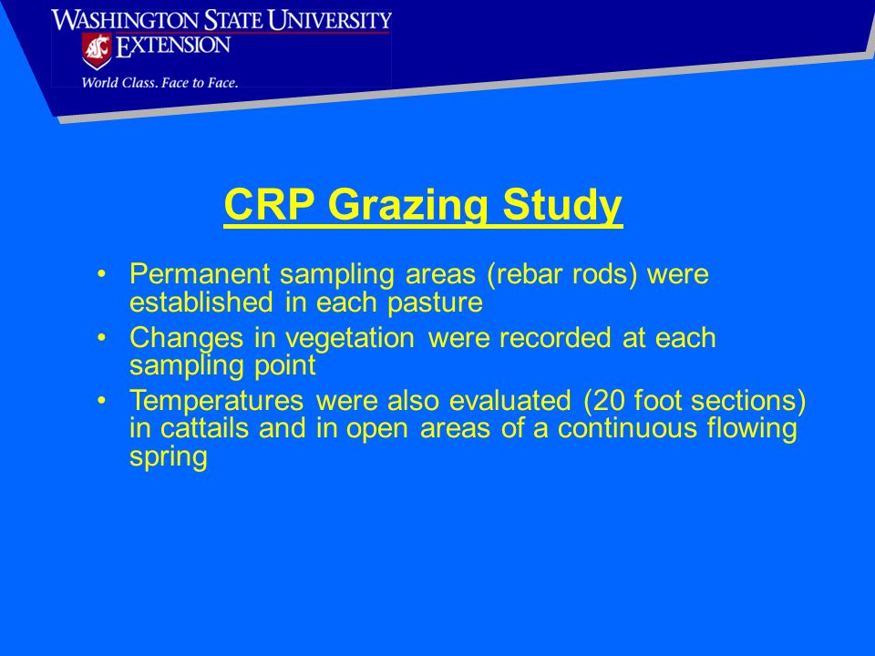 CRP Grazing Study Permanent sampling areas (rebar rods) were established in each pasture. Changes in vegetation were recorded at each sampling point.