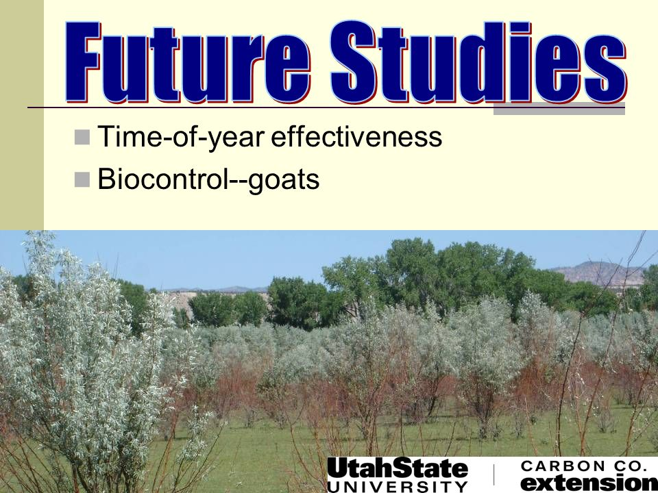 Future Studies Time-of-year effectiveness Biocontrol--goats