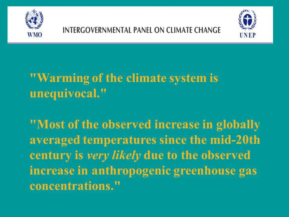 Warming of the climate system is unequivocal.