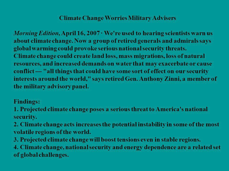 Climate Change Worries Military Advisers