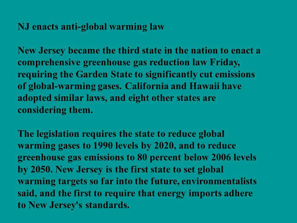 NJ enacts anti-global warming law