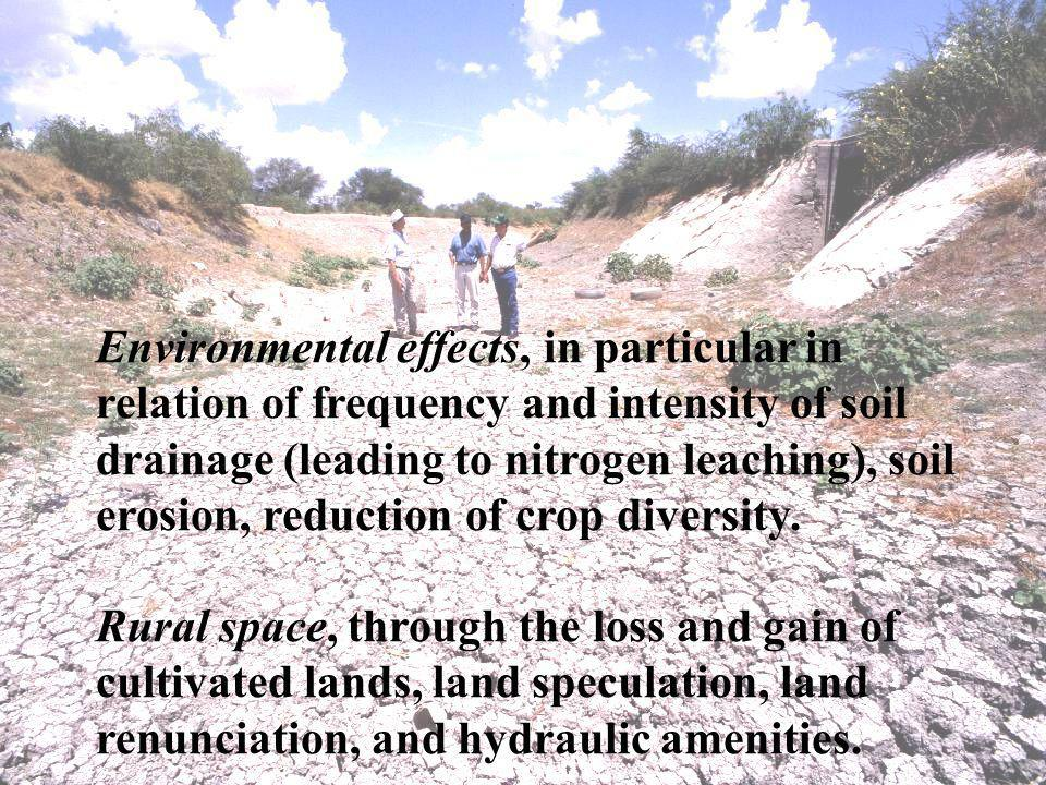 Environmental effects, in particular in relation of frequency and intensity of soil drainage (leading to nitrogen leaching), soil erosion, reduction of crop diversity.