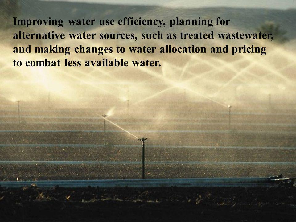Improving water use efficiency, planning for alternative water sources, such as treated wastewater, and making changes to water allocation and pricing to combat less available water.