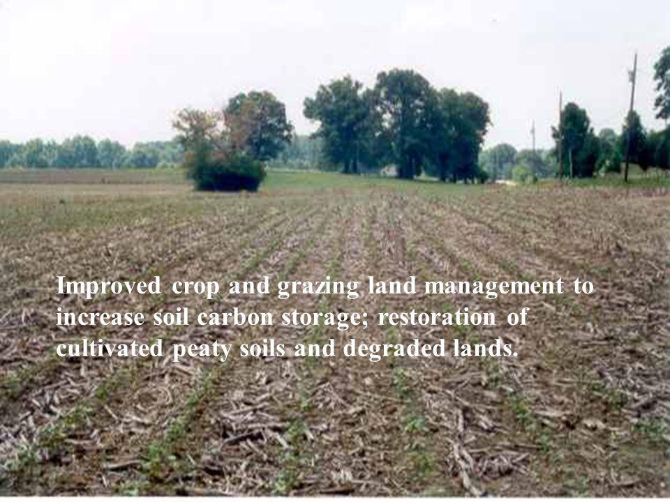 Improved crop and grazing land management to increase soil carbon storage; restoration of cultivated peaty soils and degraded lands.