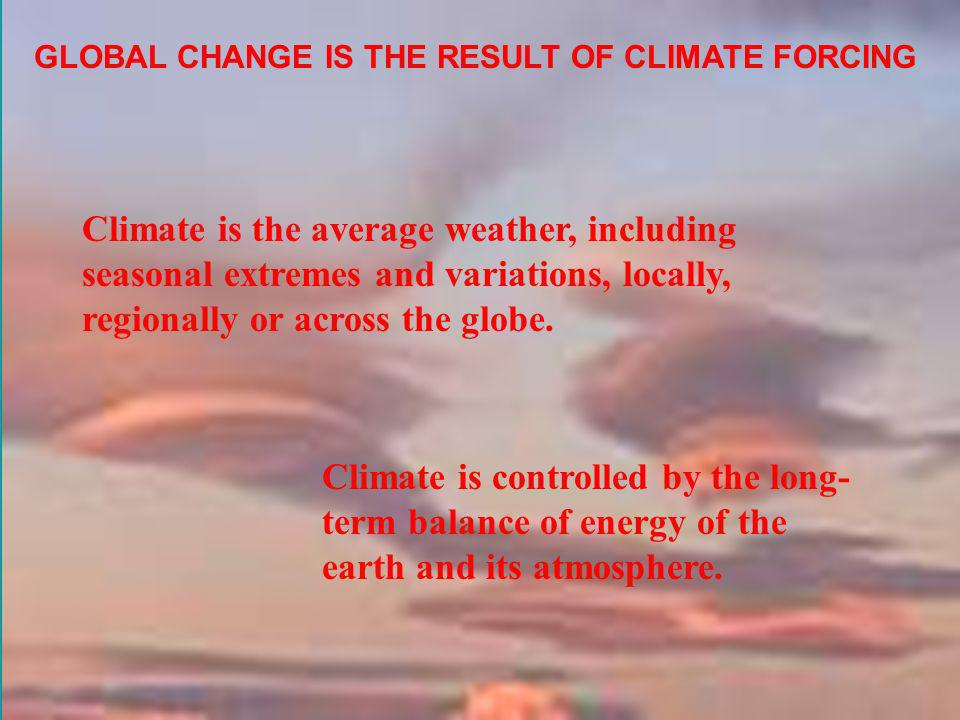 GLOBAL CHANGE IS THE RESULT OF CLIMATE FORCING