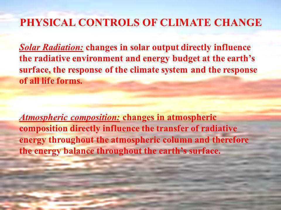 PHYSICAL CONTROLS OF CLIMATE CHANGE