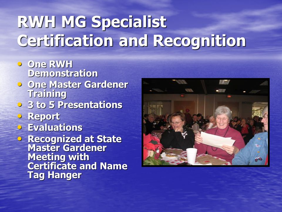 RWH MG Specialist Certification and Recognition