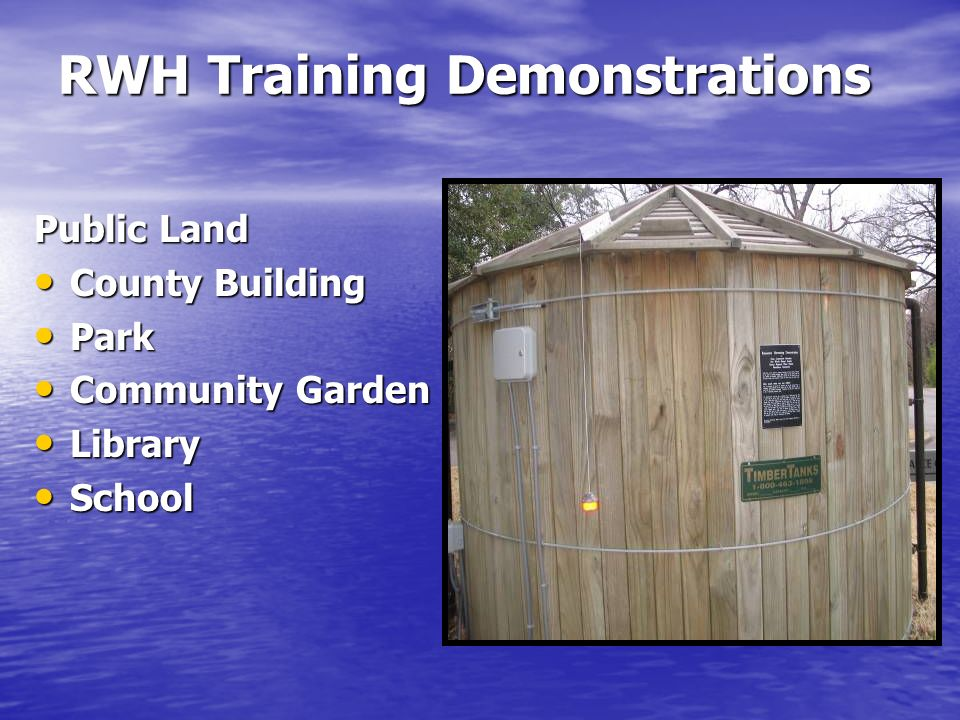 RWH Training Demonstrations