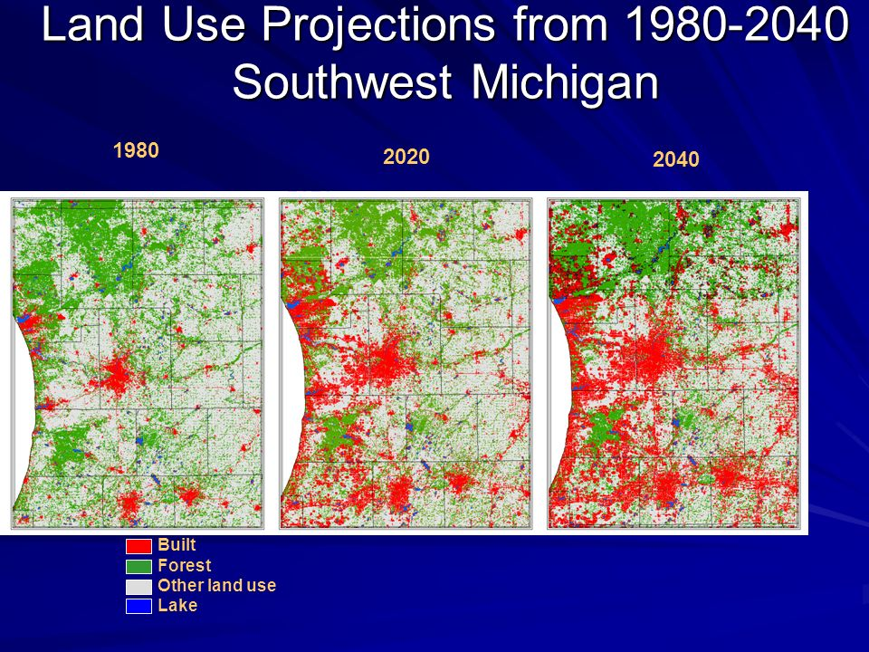 Land Use Projections from 1980-2040 Southwest Michigan