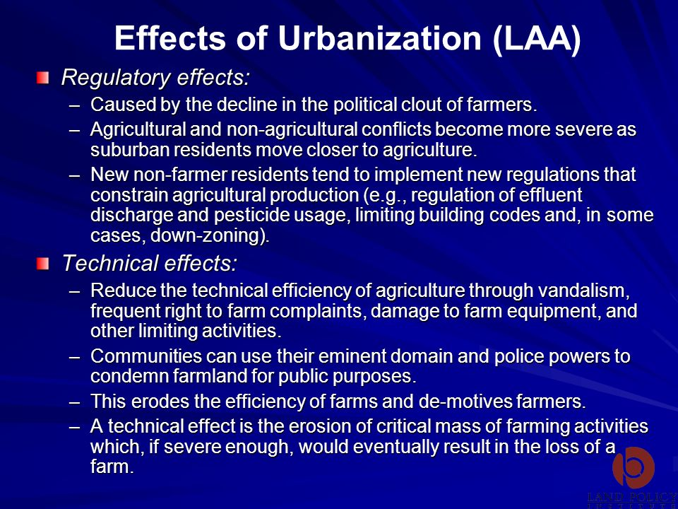 Effects of Urbanization (LAA)
